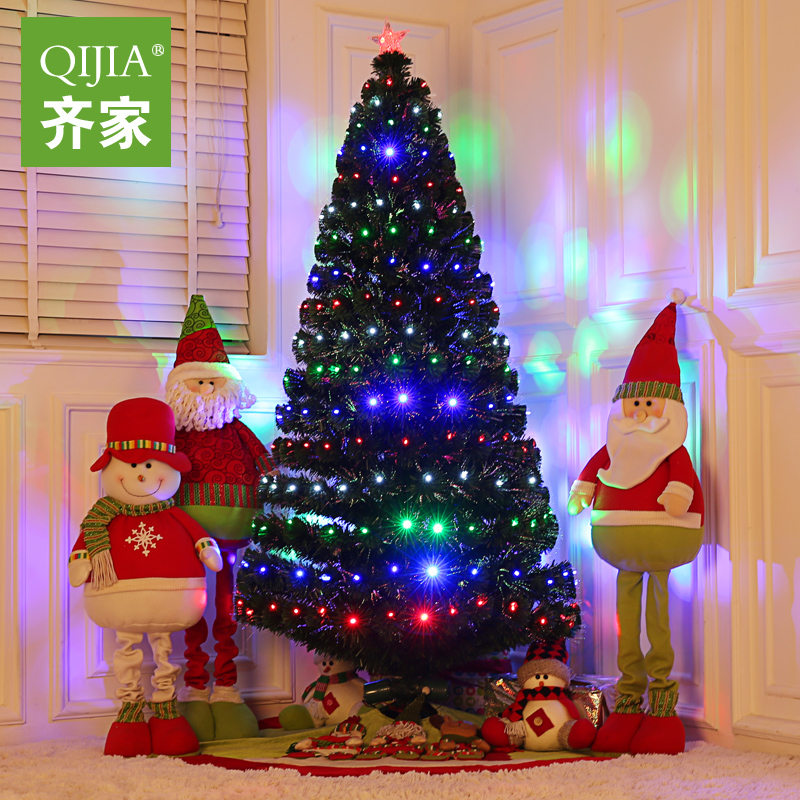 Regulating the family luminous christmas tree christmas dress supplies charged the full light 1.5 m fiber optic christmas tree tree