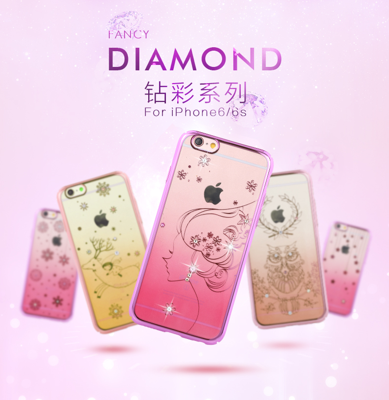 Remax color diamond apple iphone6/6 s/4.7 diamond outer hard shell protective shell diamond paste diamond mobile phone shell Set