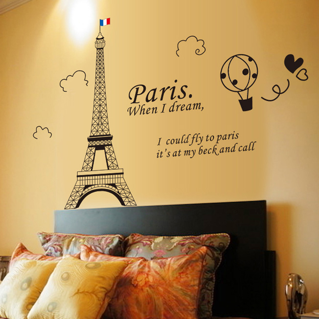 Removable wall stickers backdrop of the eiffel tower in paris klimts wallpaper paste stickers living room bedroom decor