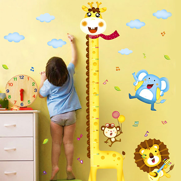 Removable wall stickers cartoon animals giraffe height measuring the height stickers children's room nursery wall stickers cute