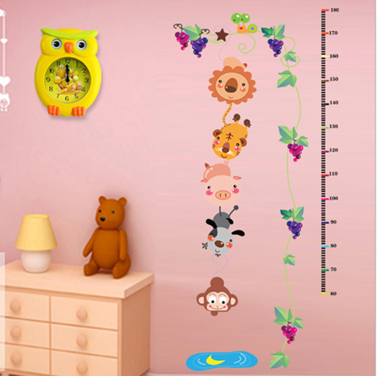Removable wall stickers cartoon children's room furniture decoration stickers measuring height living room bedroom forest story
