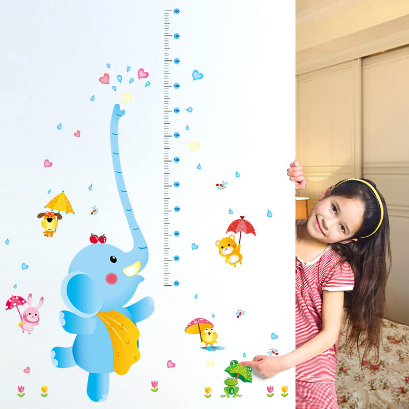 Removable wall stickers cartoon elephant height stickers children's room measuring height stickers nursery decor animal klimts