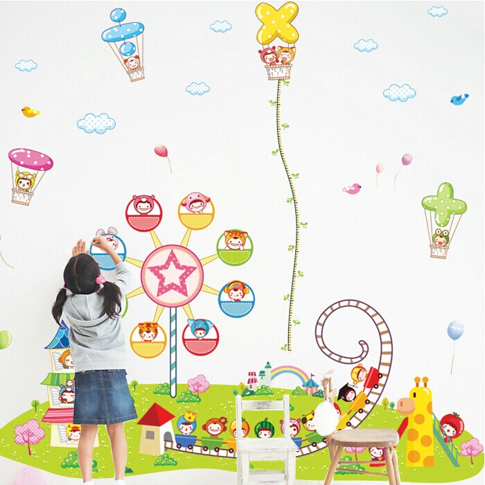 Removable wall stickers children's room bedroom superlarge kindergarten decorative wall sticker height stickers cartoon amusement park