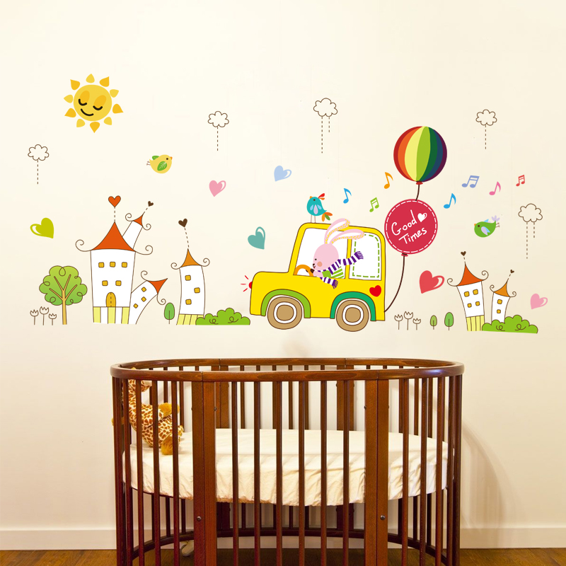 Removable wall stickers children's room furnished nursery wall stickers cute cartoon animals learn to drive klimts bunny decoration