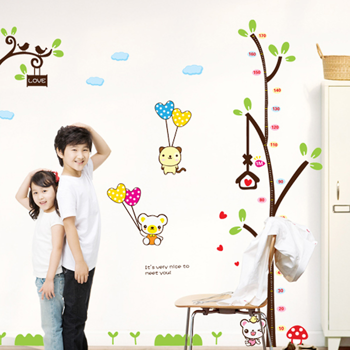 Removable wall stickers cute koala stickers measuring height feet tall children's room wallpaper sticker kindergarten layout