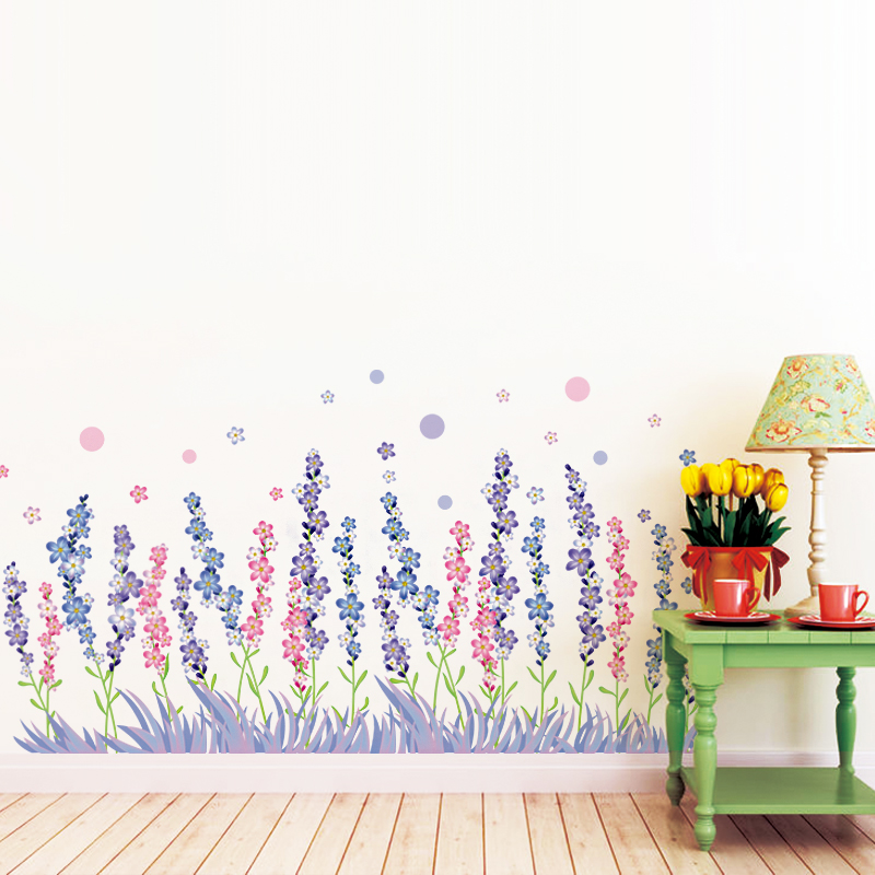 Removable wall stickers waist baseboard bedroom sofa background decorative wall stickers affixed to the entrance of the contadino klimts lavender