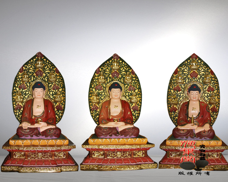 Reniforme hall large ancient color diamond block large temple temple worship sambo buddha statues painted glass steel