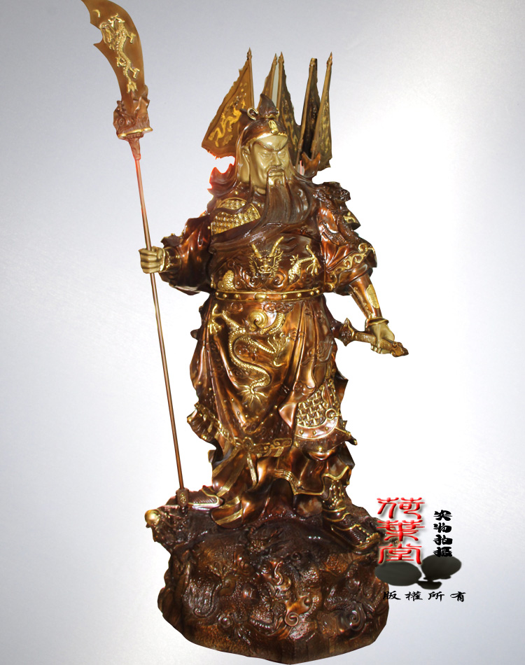Reniforme hall stickers taiwan copper buddha statue of guan yu kuan guan gong wu fortuna gold kowloon station