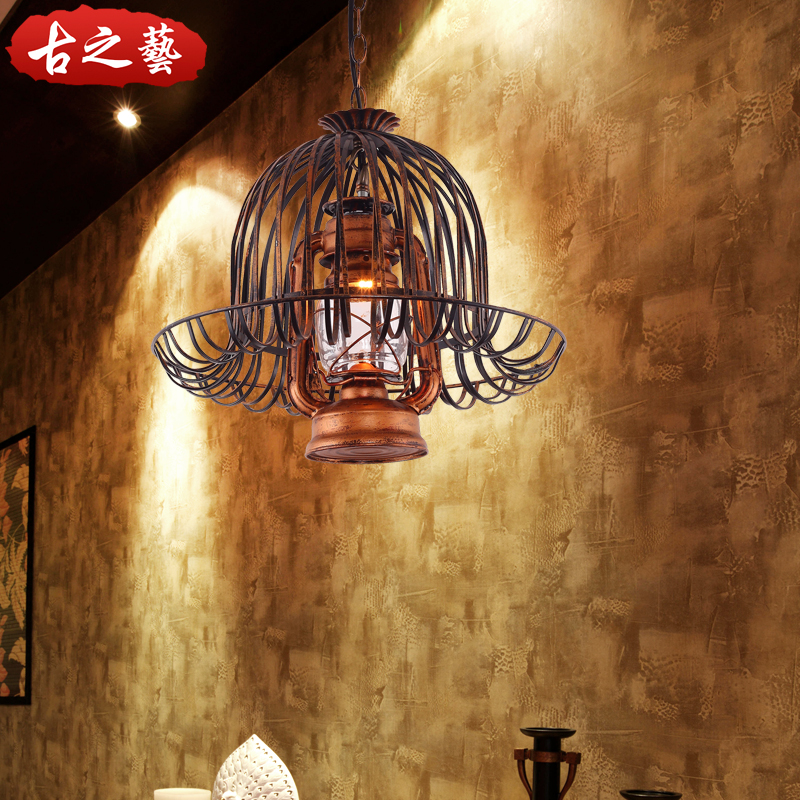 Retro american country wrought iron single head pastoral antique teahouse restaurant chandelier lamp aisle lights light bar lamp