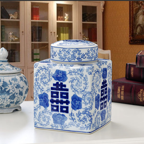 Retro blue and white hi word quartet ceramic canisters canister jingdezhen porcelain home decoration decorative containers