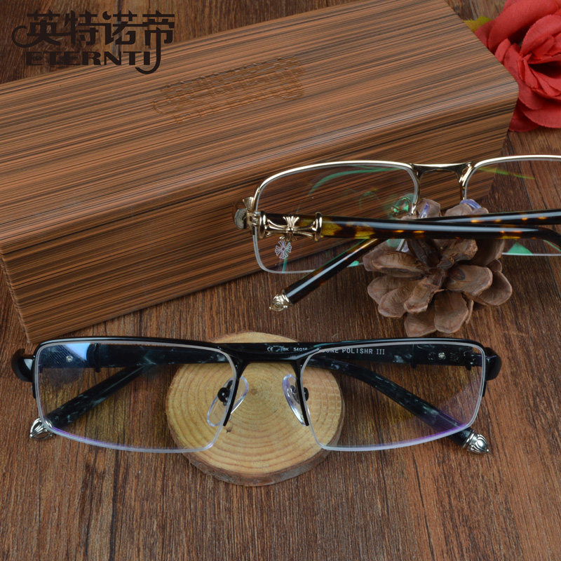 52b0da28bea Get Quotations · Retro glasses frame influx of male and female models  woodiness ninety metal half frame glasses frames