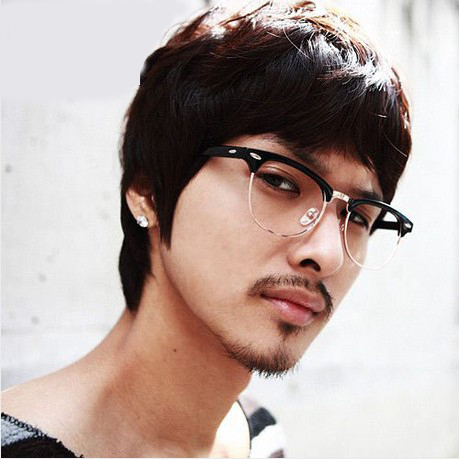 Retro half frame glasses frame glasses rimmed glasses frame glasses star models for men and women fashion korean tidal plain glass spectacles