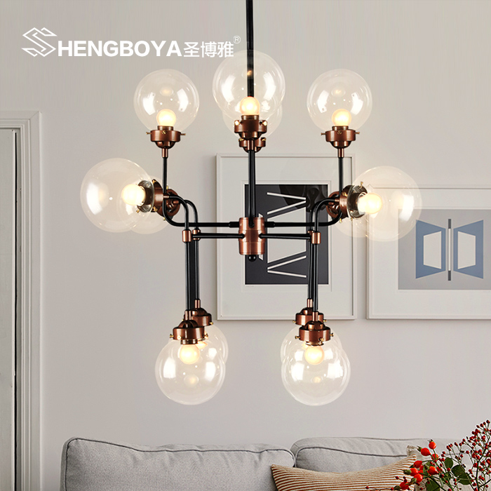 Retro industrial loft bar cafe chandelier nordic creative personality wrought iron chandelier living room dining engineering