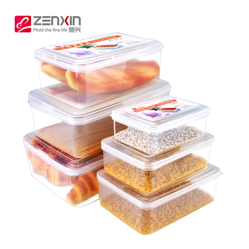 Revitalization of plastic storage box without bottom dumplings box refrigerator crisper microwave lunch box 6 sets of refrigerated box
