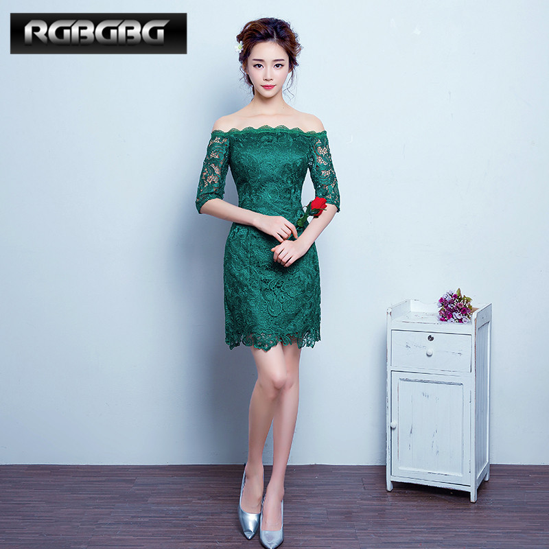 Rgbgbg customized 2016 new korean word shoulder lace dress short paragraph slim was thin dress