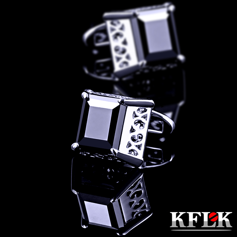 Rhodium kflk upscale gift box retro luxury black zircon cufflinks male french cufflinks cufflinks cufflinks french shirt cufflinks