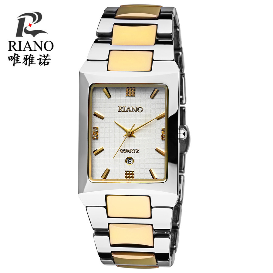 Riano/viano square authentic tungsten steel men's watch business watch quartz watch couple watch waterproof calendar female form