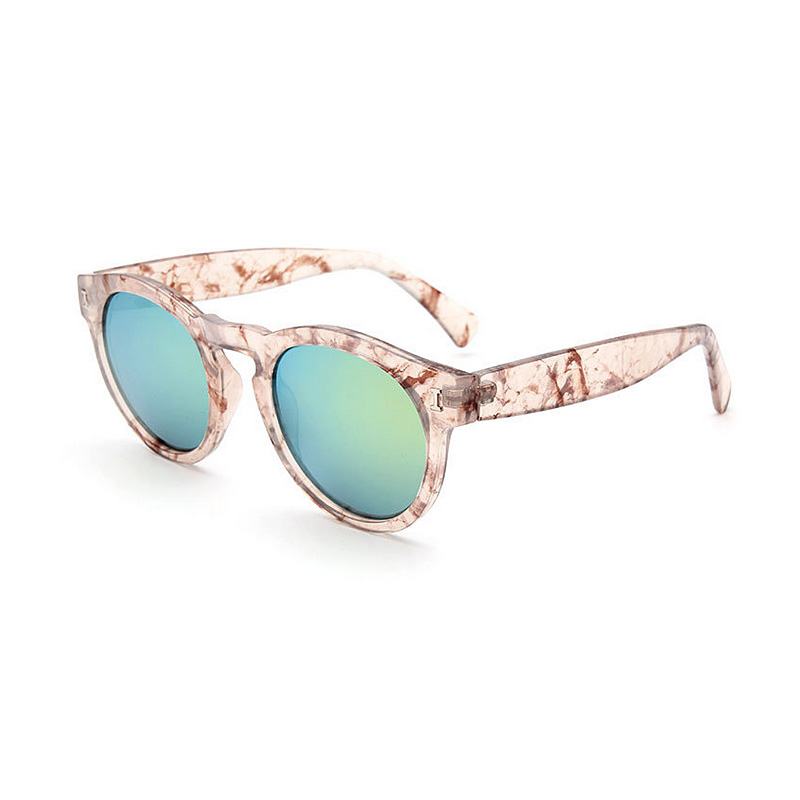 Richcoco european and american fashion women retro uv sunglasses round frame sunglasses reflective color film sunglasses b098