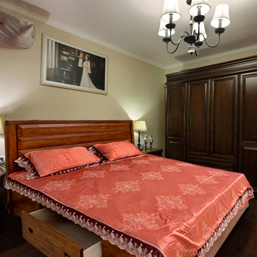 Rifa dalian bright genuine solid wood furniture modern chinese oak 1.5 m 1.8 m double bed wood bed