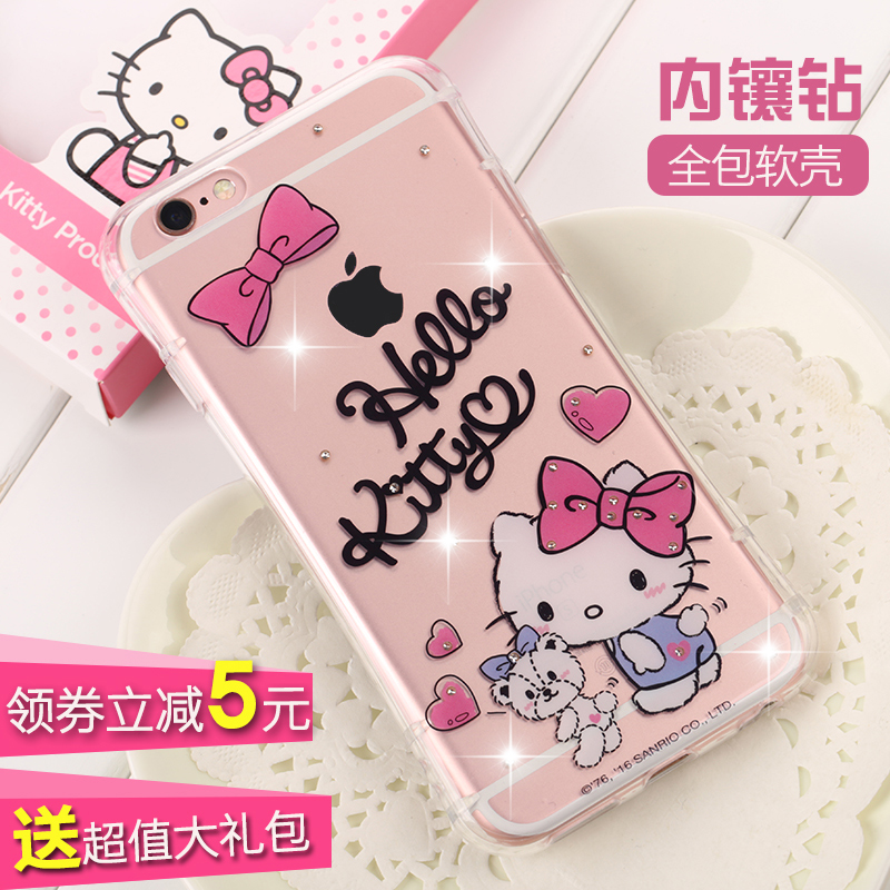 Road swiss apple iphone6s diamond drop the whole package within a plus phone shell mobile phone shell silicone soft shell cartoon influx of female models