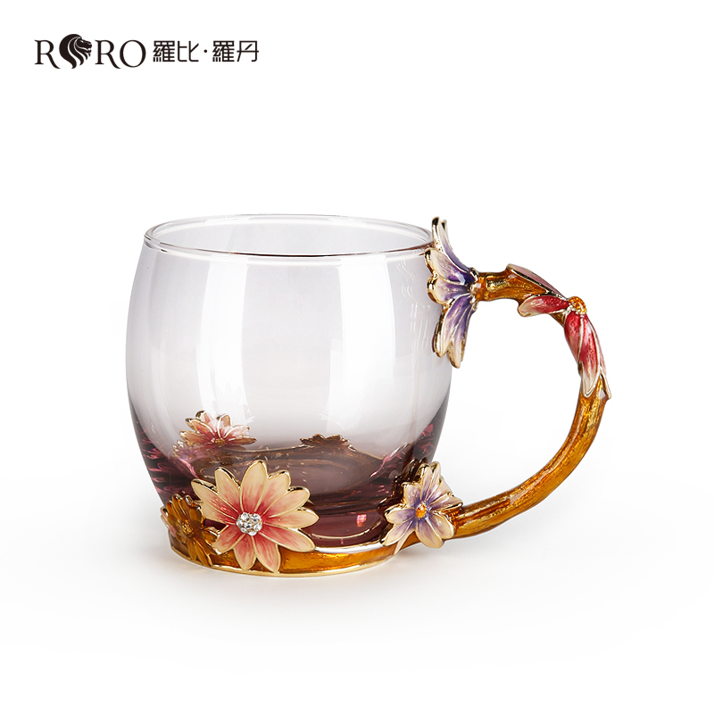 Robbie rodin creative glass cups office lady fashion personality flower cup coffee mug gift mug