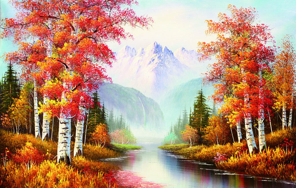 [Robinson] adult art thanmonolingualsat 1000 wooden jigsaw puzzle of 500 hand painted landscape painting home decorative painting late autumn