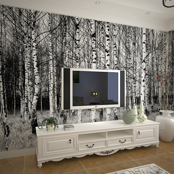 Roca snow birch modern minimalist living room den large custom mural wallpaper background wallpaper pastoral