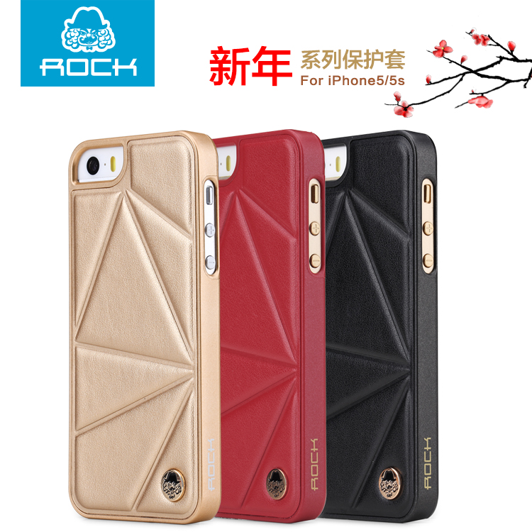 Rock locke apple iphone5 phone shell protective sleeve slim sc-7383 5s mobile phone sets shell holster christmas red