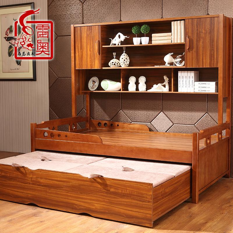 Roe furniture solid wood children's bed with guardrail single credenza multifunction height picture bed wardrobe bed bed bed trailer bed