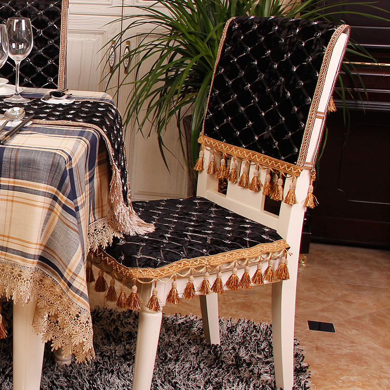 Roldy borderies european luxury table cloth upholstery coverings chair set chinese continental dining chair cushion