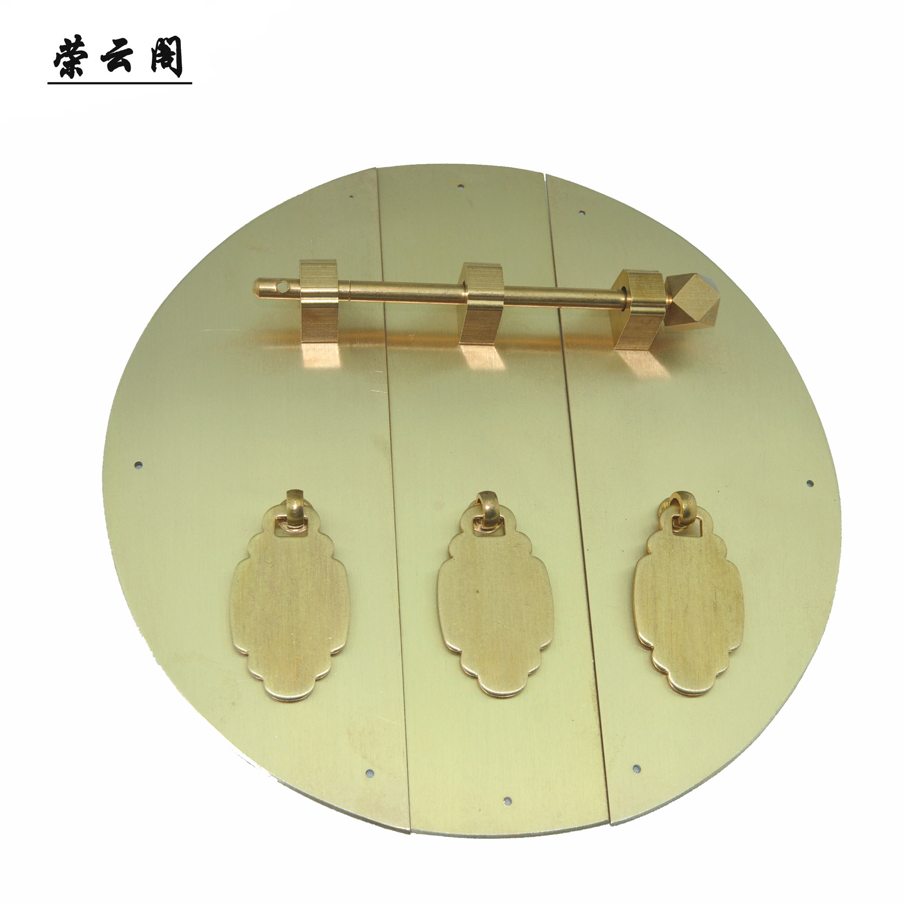 Rongyun ge classic round 24cm copper door handle chinese antique ming and qing furniture accessories a XT-16 large wooden door wardrobe