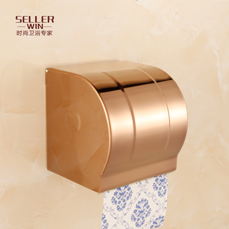 Rose gold stainless steel box of toilet paper toilet paper holder toilet tissue box waterproof box of toilet paper toilet hygiene carton