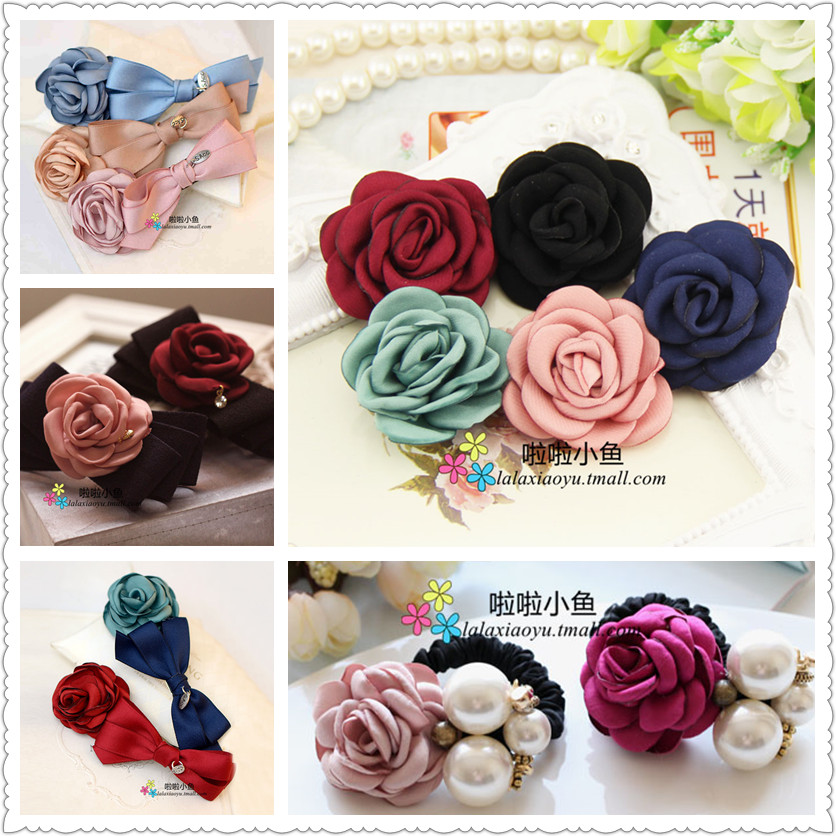 Rose handmade flowers korean jewelry hair accessories hairpin hairpin headdress first flowers novice di y material jewelry accessories