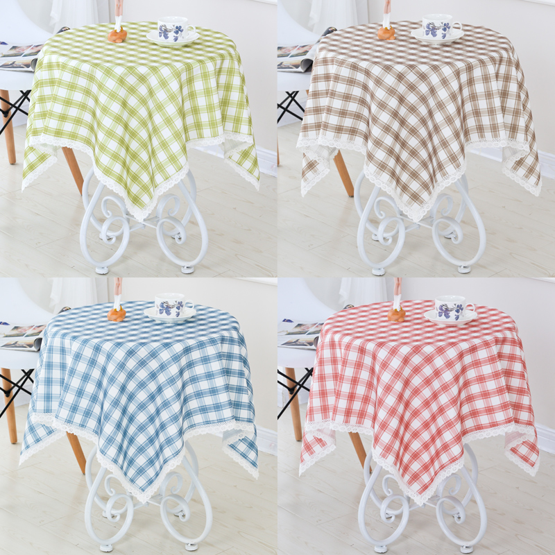 Get Ations Round Coffee Table Waterproof Tablecloth Square Small Cloth Fresh Plaid