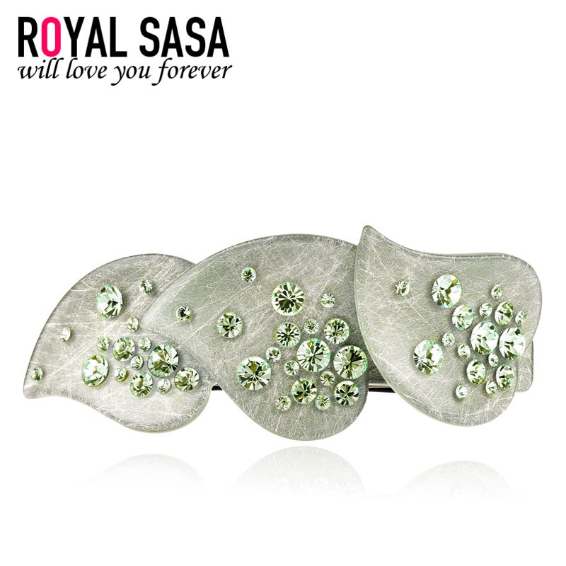 Royal salsa korea headdress hair accessories hairpin hairpin spring clip top luxury leaf rhinestone ponytail dish made hairpin cross folder