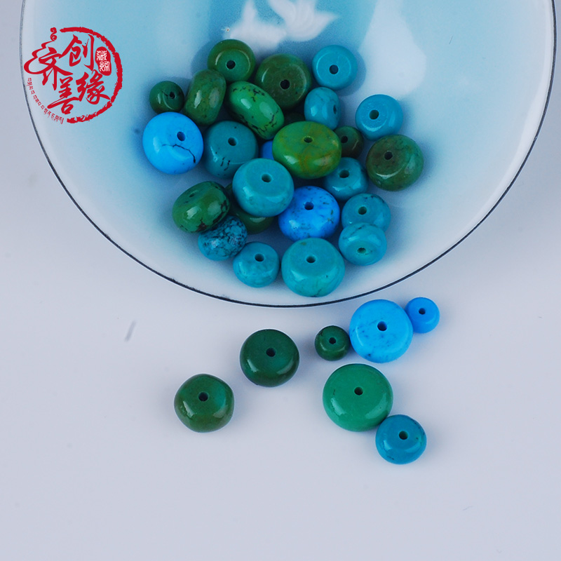 Rubber qin ore blue turquoise spacer beads xingyue diamond bracelets diy accessories with a gasket spacer beads loose beads b