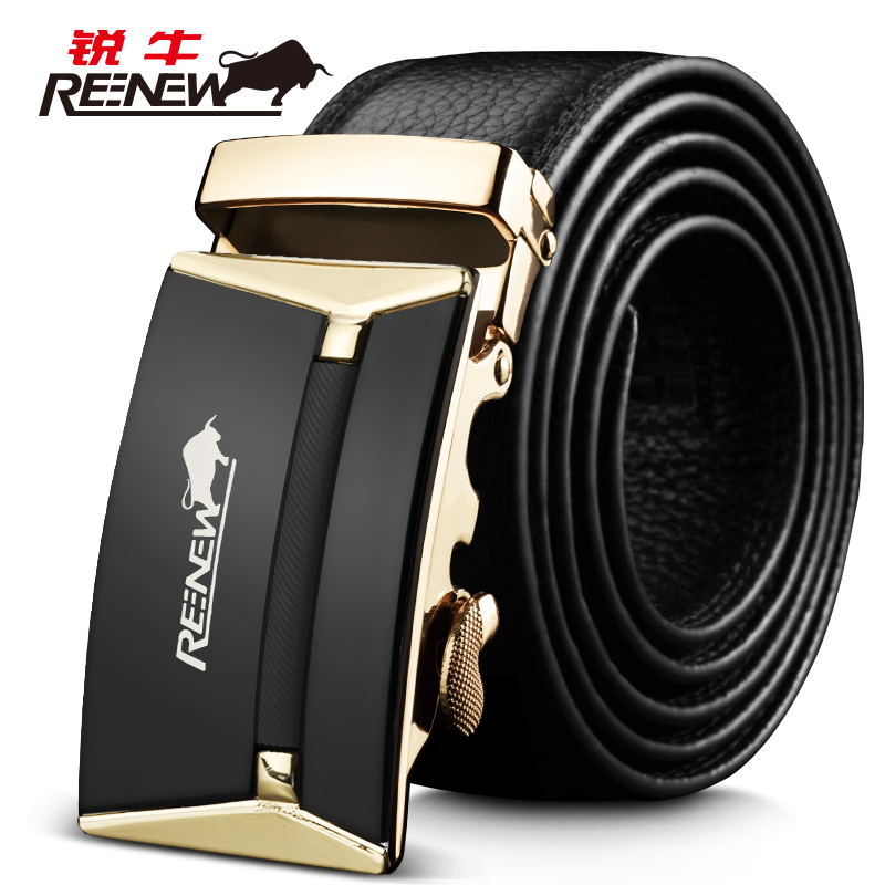 Rui leather belt first layer of leather men's automatic belt buckle belt authentic korean version of the leather business belt tide of youth