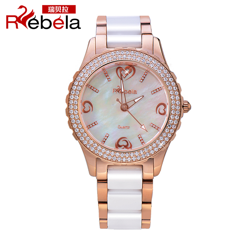 Ruibei la brand ladies watches korean version of the trend of fashion rose gold diamond watch waterproof ceramic female form 5301