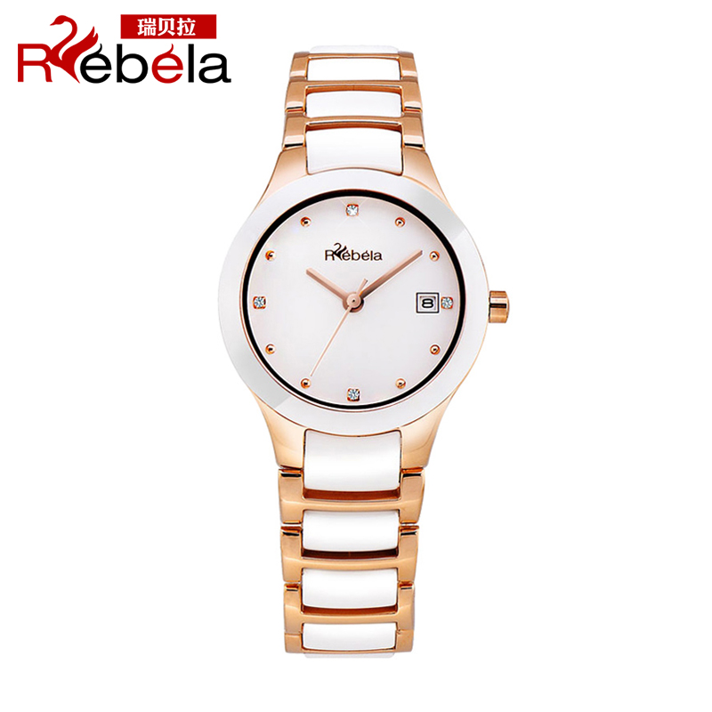 Ruibei la waterproof female form female korean tide thin white ceramic watches fashion diamond ladies watch water