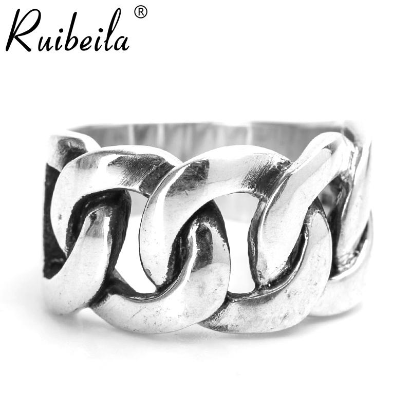 Ruibeila925 boys retro thai silver ring silver personality chain wide face japan and south korea popular ring silver ring child