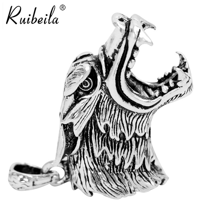 Ruibeila925 langtou domineering men pendant necklace punk retro thai silver retro silver pendant creative items