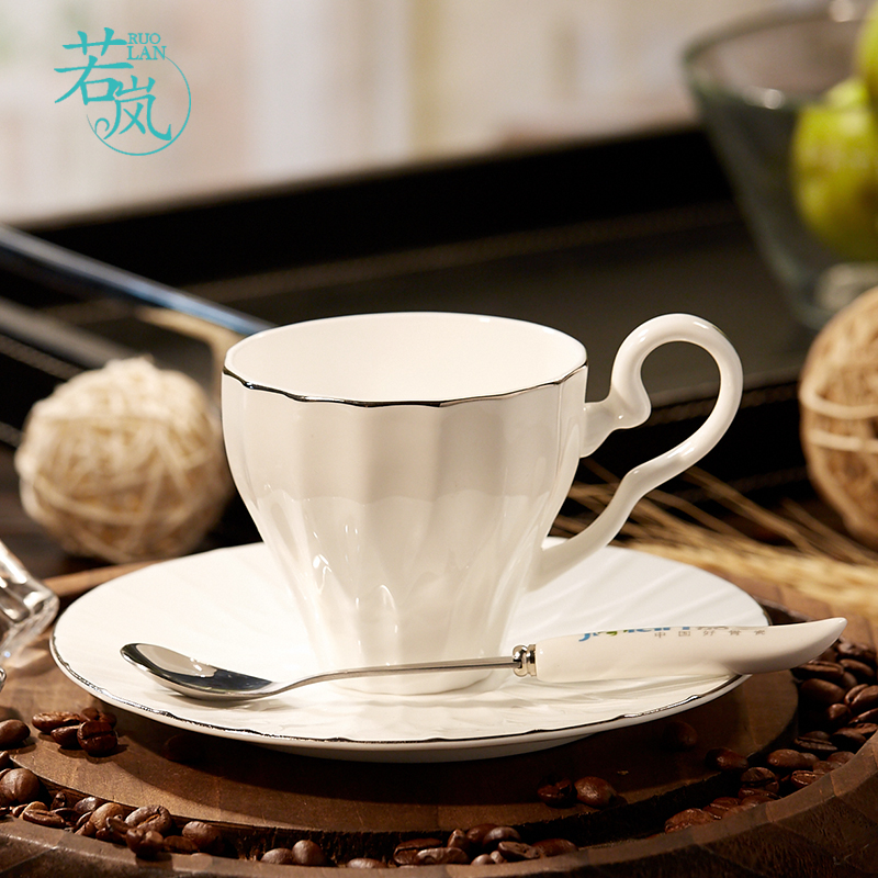 Ruolan afternoon tea bone china coffee cup and saucer suit continental platinum edge creative personality minimalist ceramics watercups