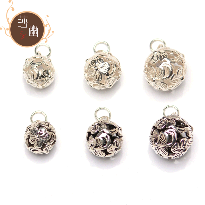 S925 silver hollow five leaves and flowers heart shaped ball pendant su silver ball pendant diy jewelry materials