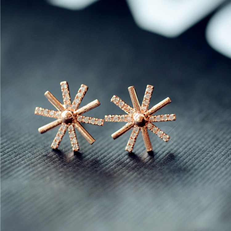 S925 silver needle sunflowers earrings female temperament no pierced ear clip earrings japan and south korea korean jewelry hypoallergenic 0387