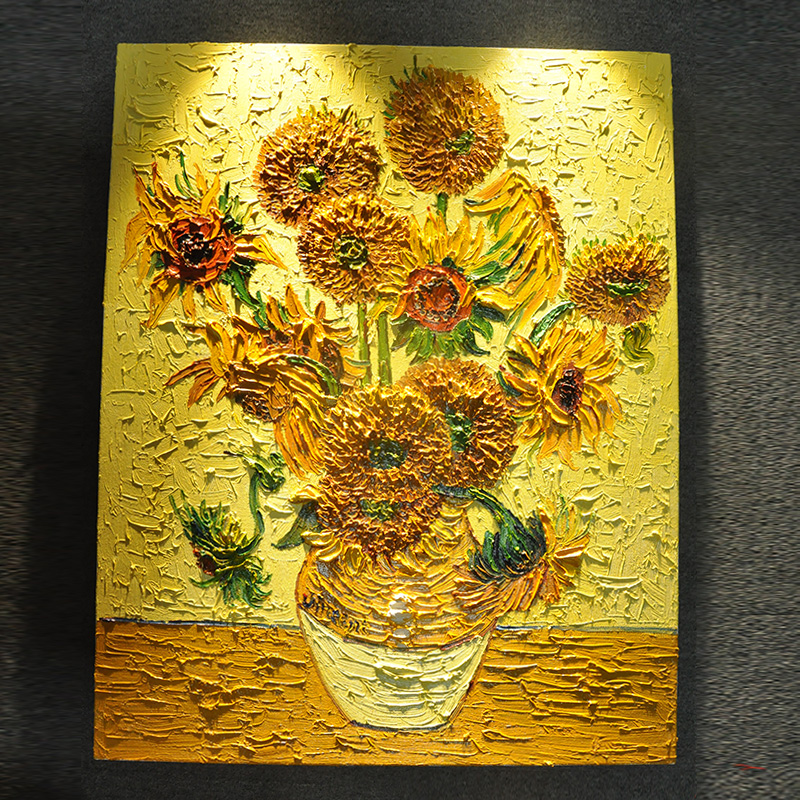 [Sale] van gogh sunflower painting 7 pure hand painted oil painting 6朵consists of 14 and 15 sunflower
