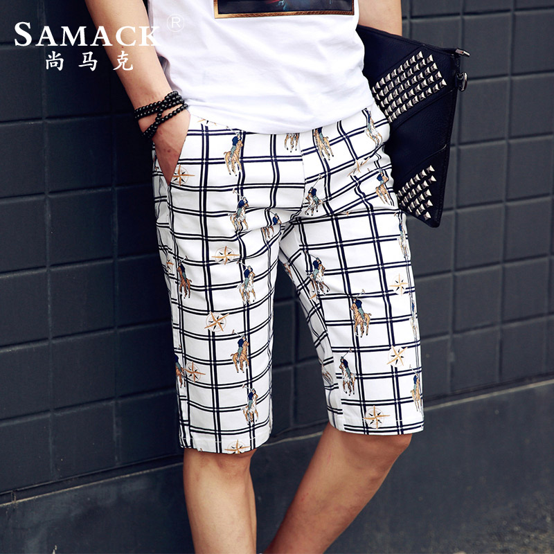 Samack/still make men's plaid shorts summer new large size five pants waist straight trousers trousers