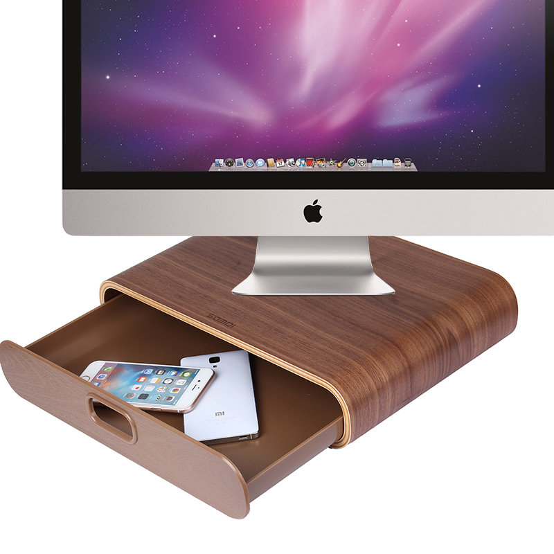 Samdi wooden apple imac macbook laptop stand desktop display storage base