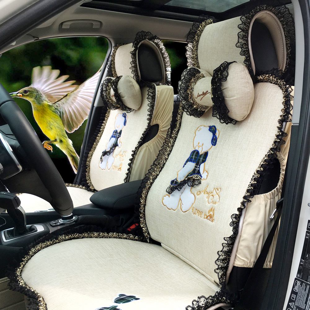 Samelitter small pure can ailei si female cartoon car seat cushion car cushion covers car seat four seasons general car seat