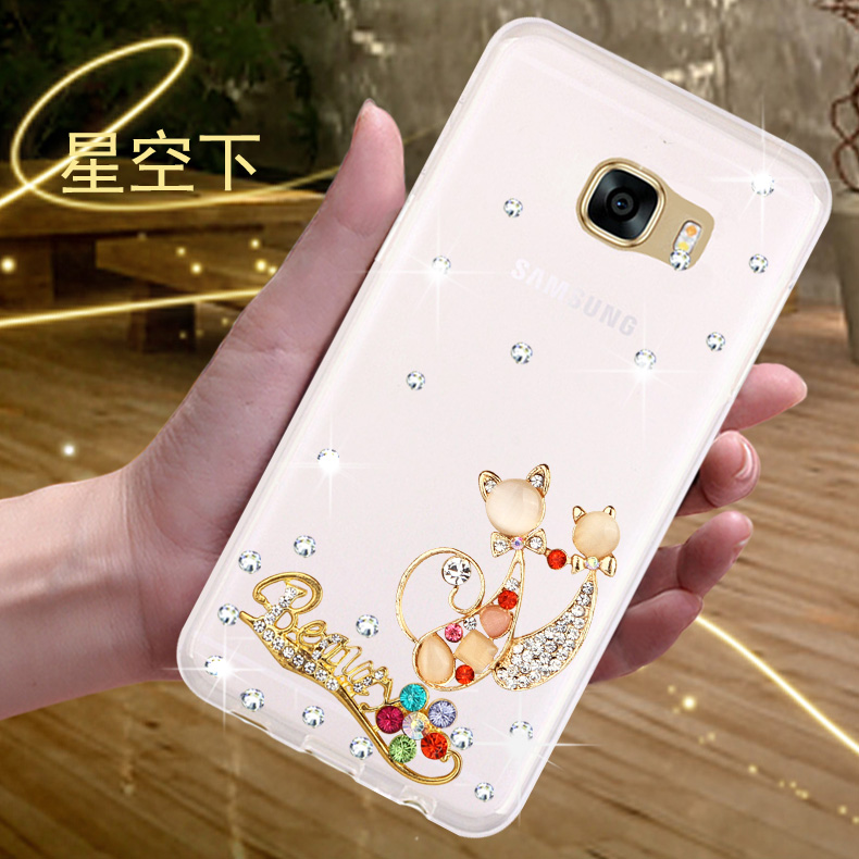 Samsung n9300 Note7 phone shell mobile phone sets new protective sleeve rhinestone drop resistance silicone soft shell full hemming