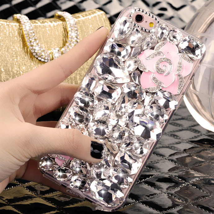 Samsung note3/2/4 s4s5 a5a7a3 s6edge cute rhinestone lanyards phone shell protective coat
